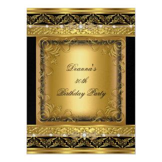 Birthday Party 30th Metallic Gold Black Diamond 17 Cm X 22 Cm Invitation Card
