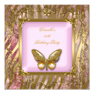 Birthday Party 30th Pink Gold Zebra Butterfly 13 Cm X 13 Cm Square Invitation Card