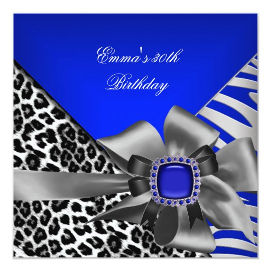 Birthday Party 30th Zebra Leopard Blue Black Card