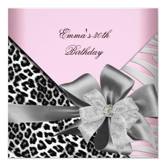 Birthday Party 30th Zebra Leopard Pink Black 13 Cm X 13 Cm Square Invitation Card