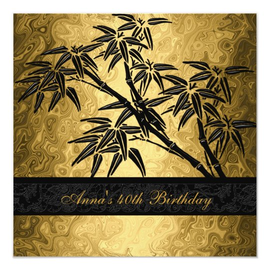Birthday Party 40th Asian Gold Bamboo Black Floral Card
