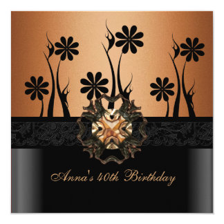 Birthday Party 40th Coffee Brown Black Floral 13 Cm X 13 Cm Square Invitation Card