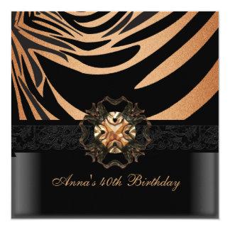 Birthday Party 40th Coffee Brown Black Zebra 2 Custom Invitations