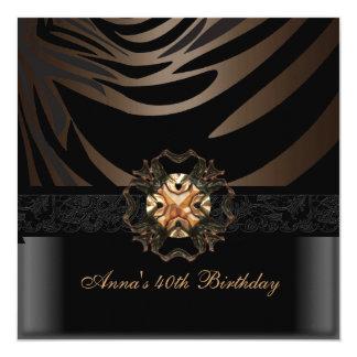 Birthday Party 40th Coffee Brown Black Zebra Jewel Custom Invitation