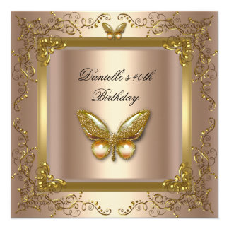 Birthday Party 40th Gold Coffee Cream Butterfly 13 Cm X 13 Cm Square Invitation Card