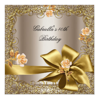 Birthday Party 40th Gold Coffee Floral Bow 13 Cm X 13 Cm Square Invitation Card