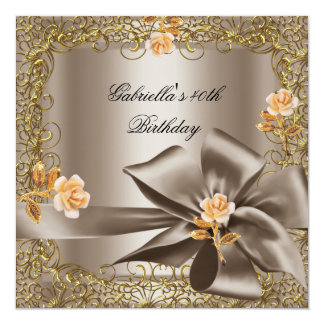 Birthday Party 40th Gold Coffee Floral Bow 2 Personalized Invitation