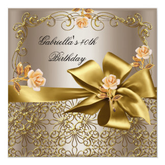 Birthday Party 40th Gold Coffee Floral Bow 5.25x5.25 Square Paper Invitation Card