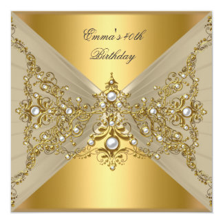Birthday Party 40th Gold Coffee Pearl 13 Cm X 13 Cm Square Invitation Card
