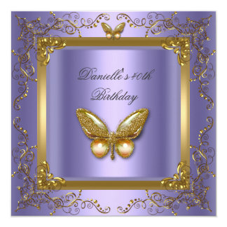 Birthday Party 40th Gold Purple Butterfly 13 Cm X 13 Cm Square Invitation Card