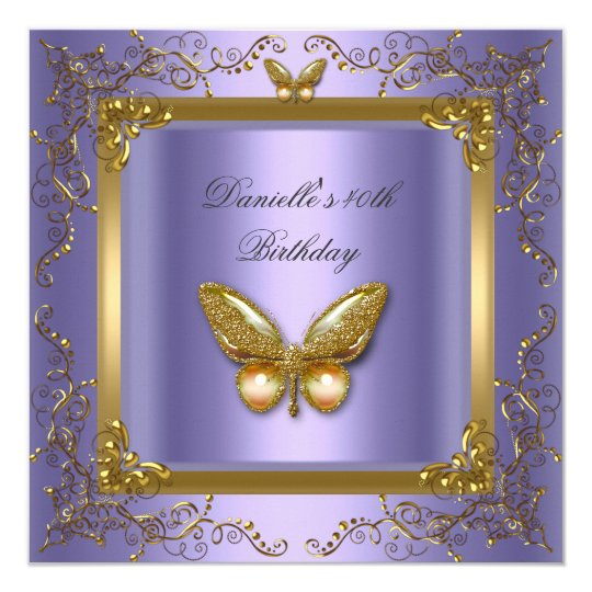 Birthday Party 40th Gold Purple Butterfly Card