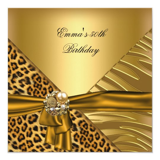 Birthday Party 50th Zebra Leopard Gold Black Bow