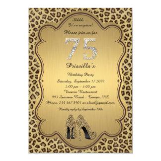 Birthday Party , 75th,Cheetah High Heels Shoes 13 Cm X 18 Cm Invitation Card