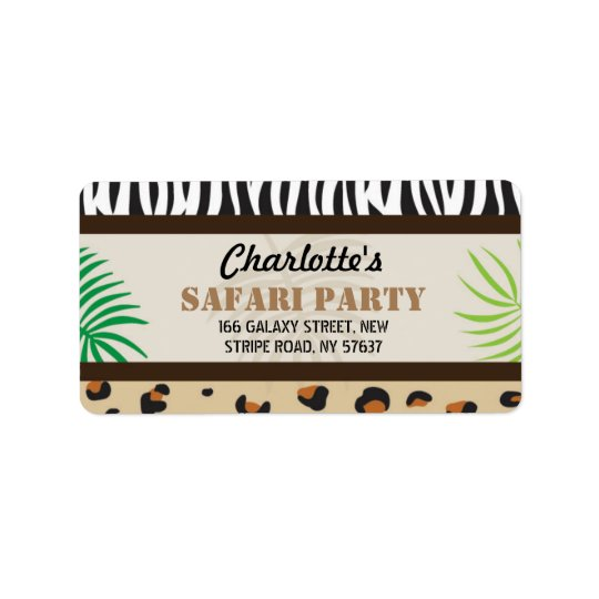 Birthday Party Animal Print Safari Address Labels