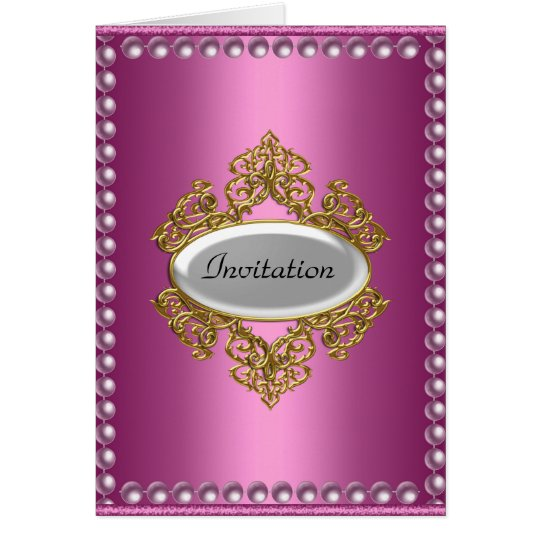 Birthday Party Announcement Card Pink