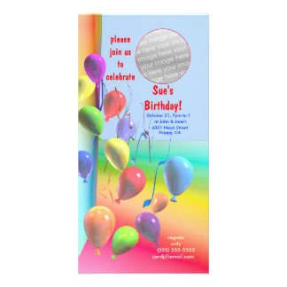 Birthday Party Balloon Wall Invitation Custom Photo Card