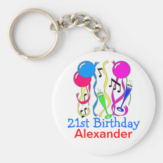 Birthday Party-Balloons 21st Personalize It! Basic Round Button Key Ring