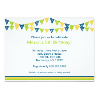 Birthday Party Banner Invite Age 5 5th fifth five