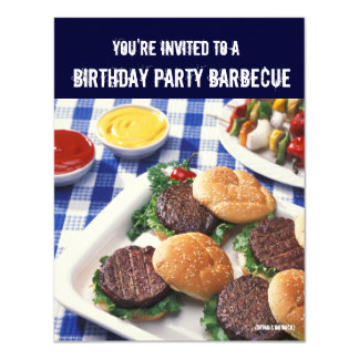 Birthday Party Barbecue, Burgers Card