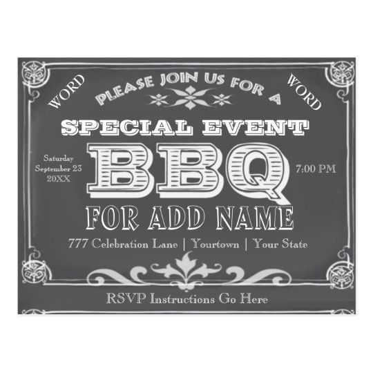 Birthday Party | BBQ | Vintage Chalkboard Postcard