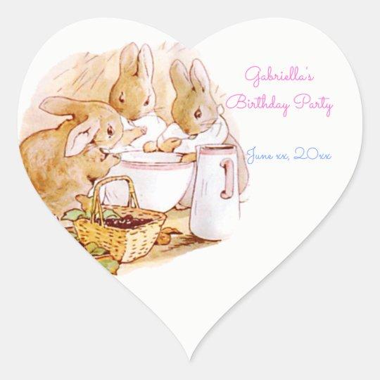 Birthday, Party Beatrix Potter, Custom Heart Sticker