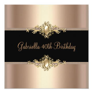 Birthday Party Black Coffee Pearl Trim 40th 13 Cm X 13 Cm Square Invitation Card