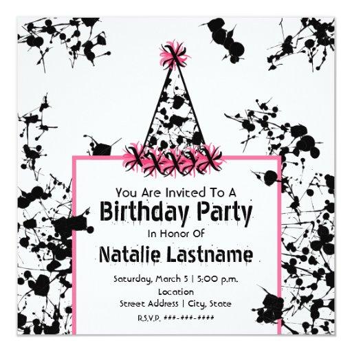 Birthday Party - Black Paint Splatter Party Hat 13 Cm X 13 Cm Square Invitation Card