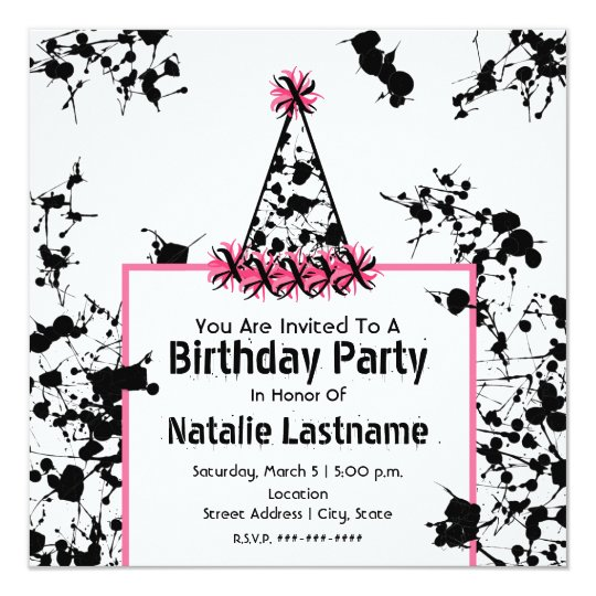 Birthday Party - Black Paint Splatter Party Hat Card