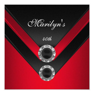 Birthday Party Black Red Diamond Jewel 13 Cm X 13 Cm Square Invitation Card