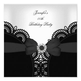 Birthday Party Black White Lace Diamond Top 13 Cm X 13 Cm Square Invitation Card