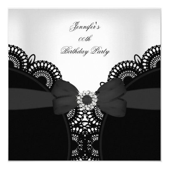 Birthday Party Black White Lace Diamond Top Card