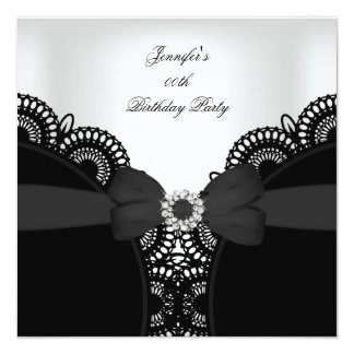Birthday Party Black White Lace Diamond Top Custom Announcements