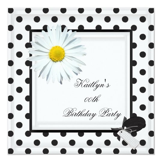 Birthday Party Black White Polka Dot Daisy Card