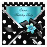 Birthday Party Blue Teal Black Polka Dots Personalized Invite