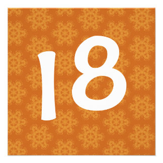 Birthday Party Bright Orange Star Flowers W1118A Custom Announcement