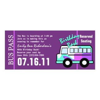 Birthday  Party Bus Pass 10 Cm X 24 Cm Invitation Card