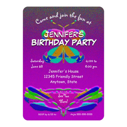 Birthday Party Butterfly Girly Card