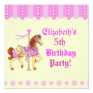Birthday Party Carousel Horse 13 Cm X 13 Cm Square Invitation Card