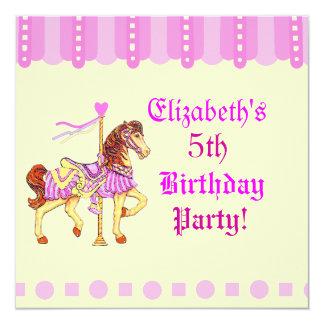 Birthday Party Carousel Horse 13 Cm X 13 Cm Square Invitation Card