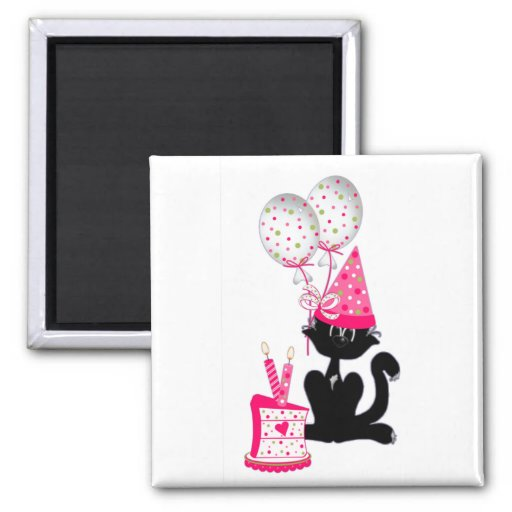 Birthday Party Cat Magnets