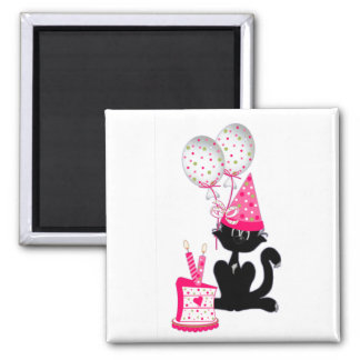 Birthday Party Cat Square Magnet