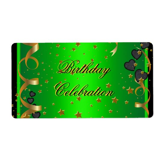 Birthday Party Celebration Lime Green Shipping Label