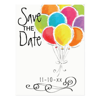 Birthday Party Colorful Balloons Save the Date Postcard