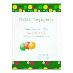 Birthday Party Colour Dots Balloons Invitation 14 Cm X 19 Cm Invitation Card