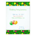 Birthday Party Colour Dots Balloons Invitation