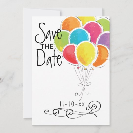 birthday party colourful balloons save the date zazzle co uk