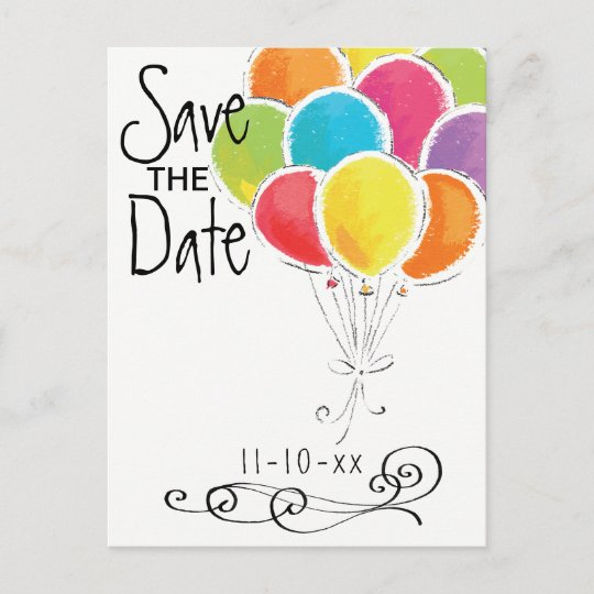 Birthday Party Colourful Balloons Save The Date Announcement