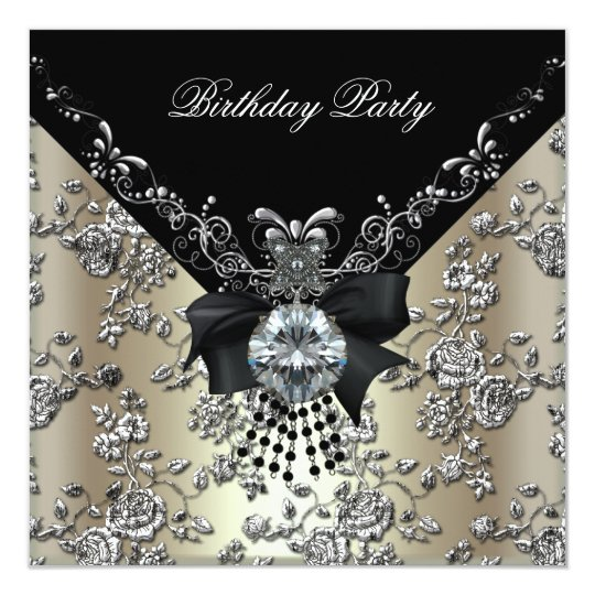 Birthday Party Cream Black Silver Damask Floral Card