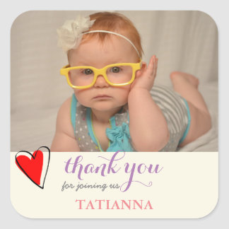 Birthday Party Cute Heart Thank You Photo Square Sticker