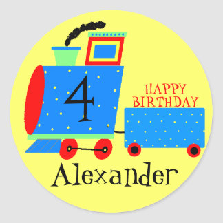 Birthday Party Cute Train With Childs Age Round Sticker